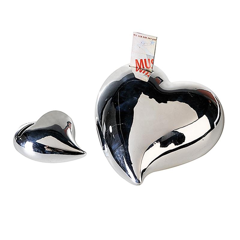 Kasička keramická Srdce, 12 cm, stříbrná