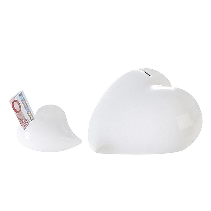 Kasička keramická Srdce, 19 cm, bílá