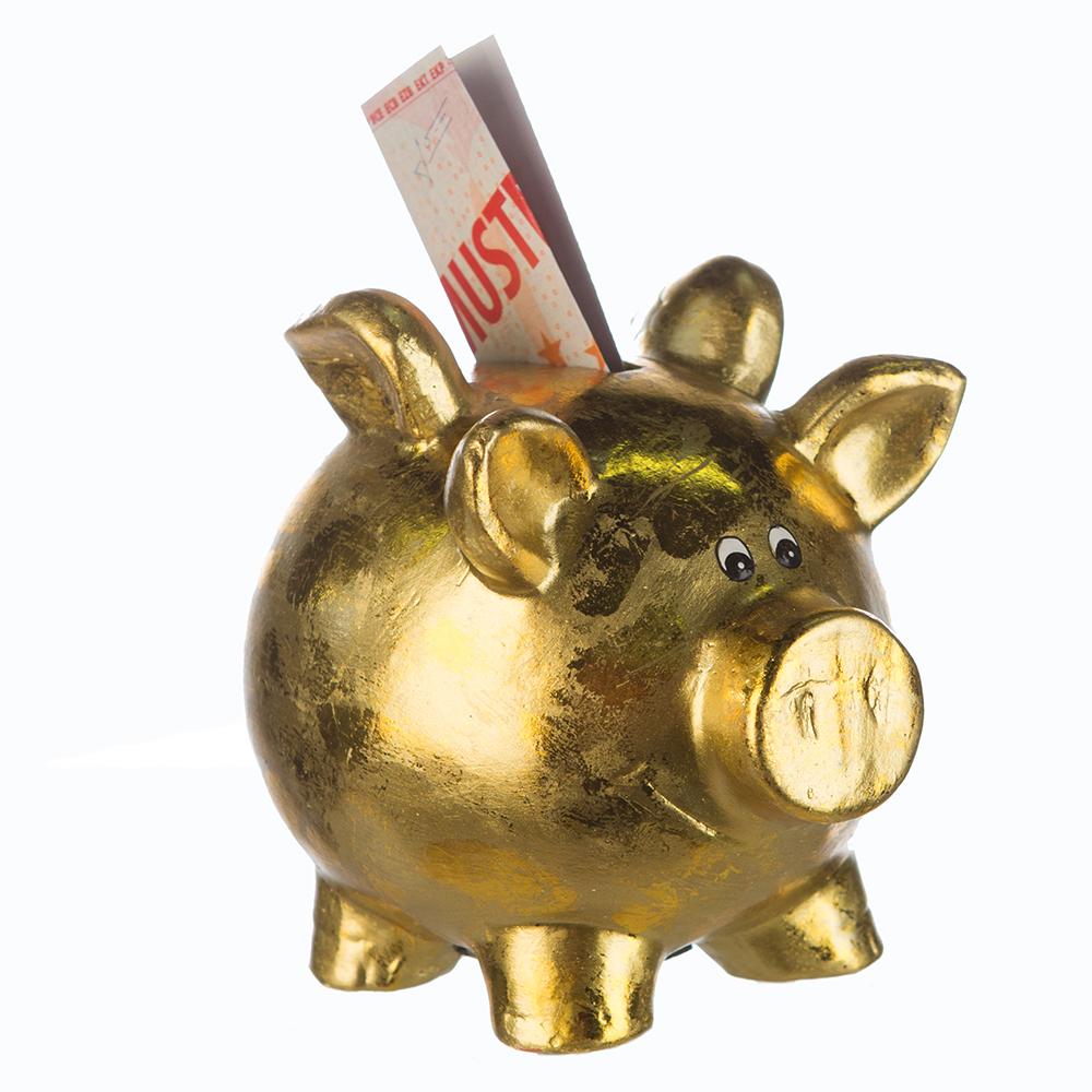 Kasička Pigg, 15,5 cm, zlatá