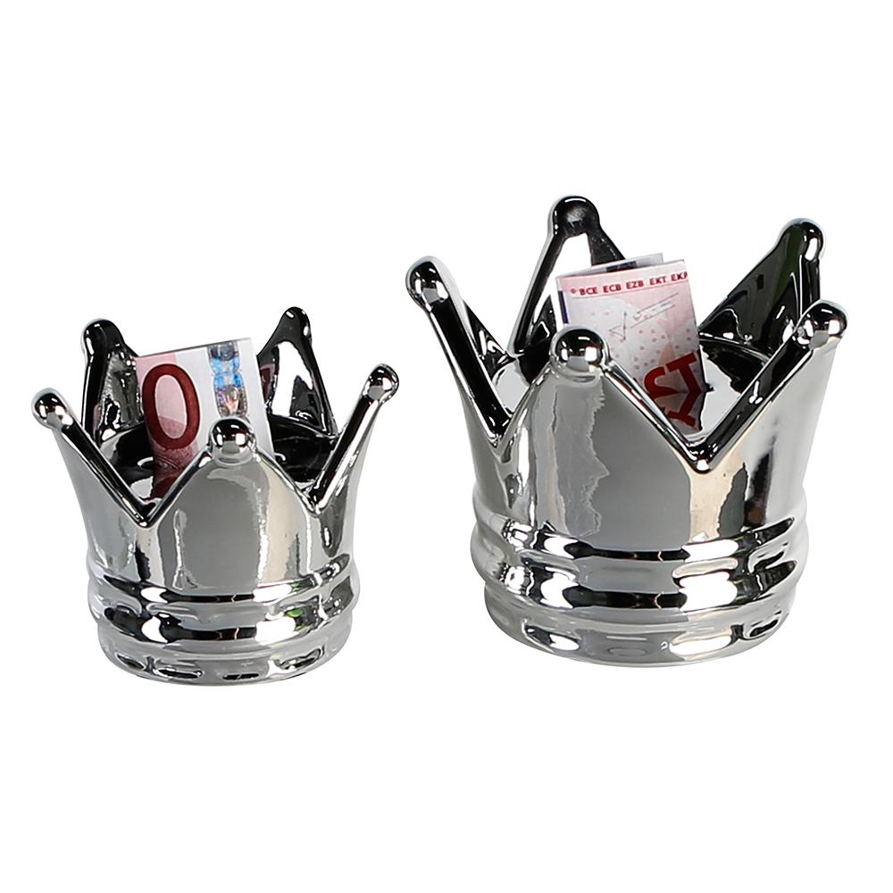 Keramická kasička King, 12 cm, stříbrná