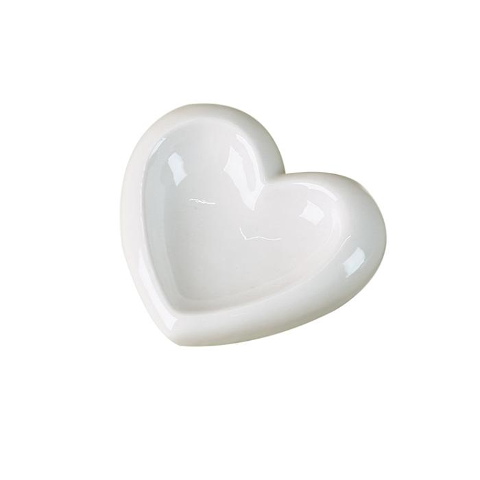 Keramická miska na šperky Srdce, 11,5 cm, bílá