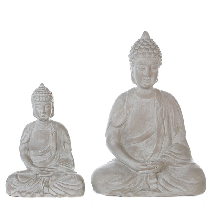 Keramická soška Buddha Spirit, 35 cm, šedá