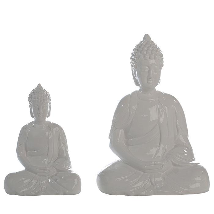 Keramická soška Buddha Spirit, 53 cm, bílá