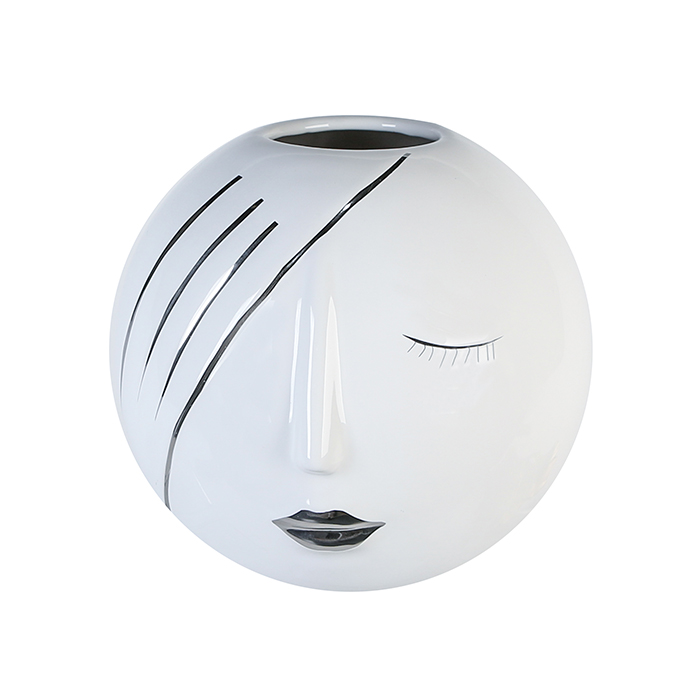 Keramická váza Face, 21 cm, bílá/stříbrná