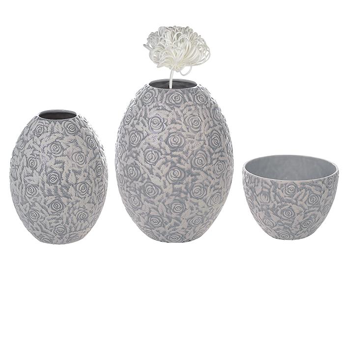 Keramická váza Jolie, 32 cm, šedá/bílá