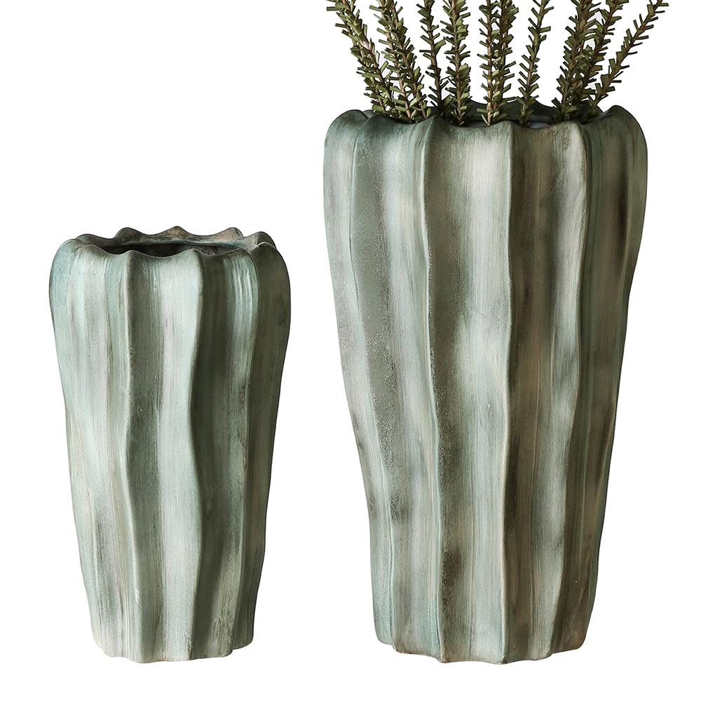 Keramická váza Kampa, 31 cm, zelená