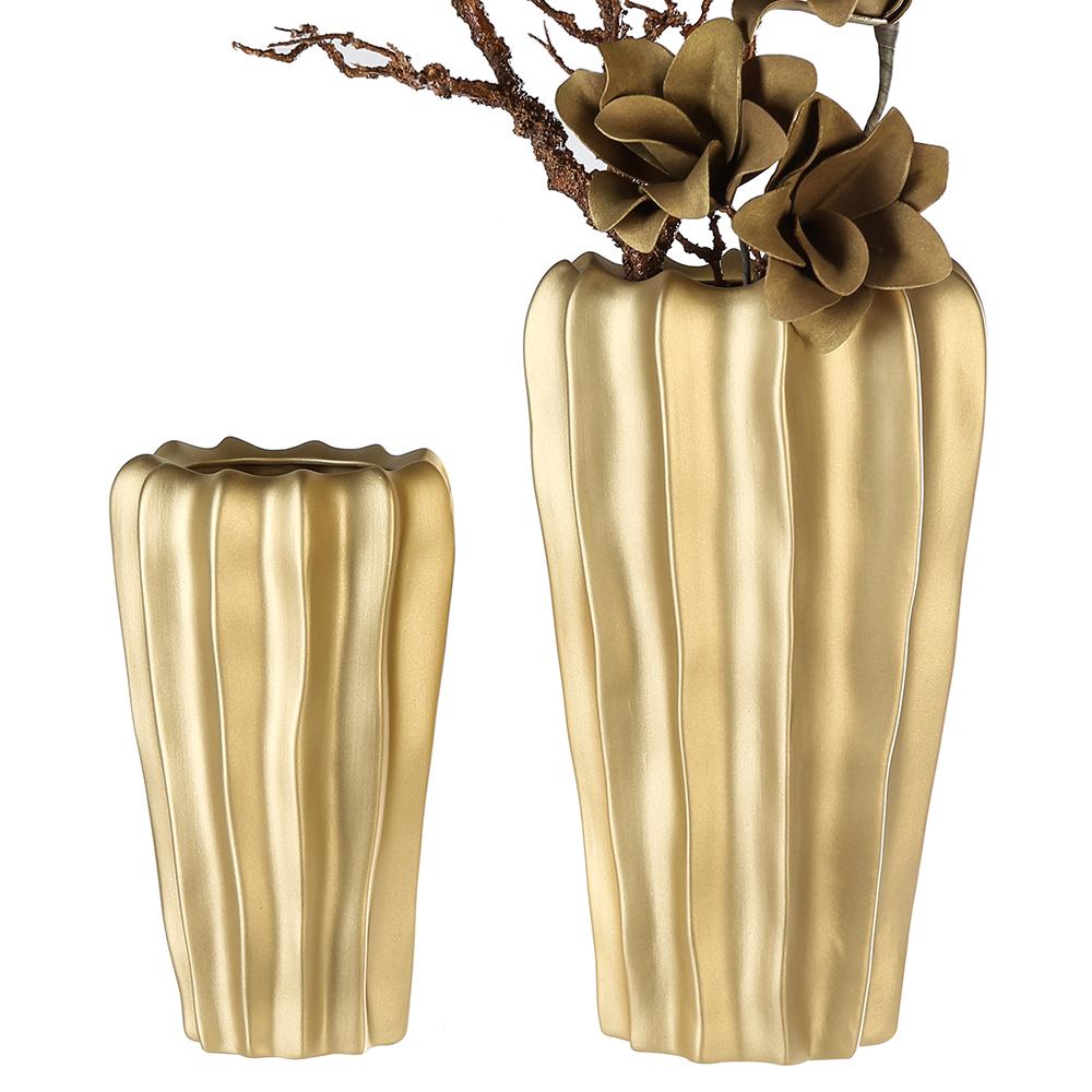 Keramická váza Kampa, 31 cm, zlatá
