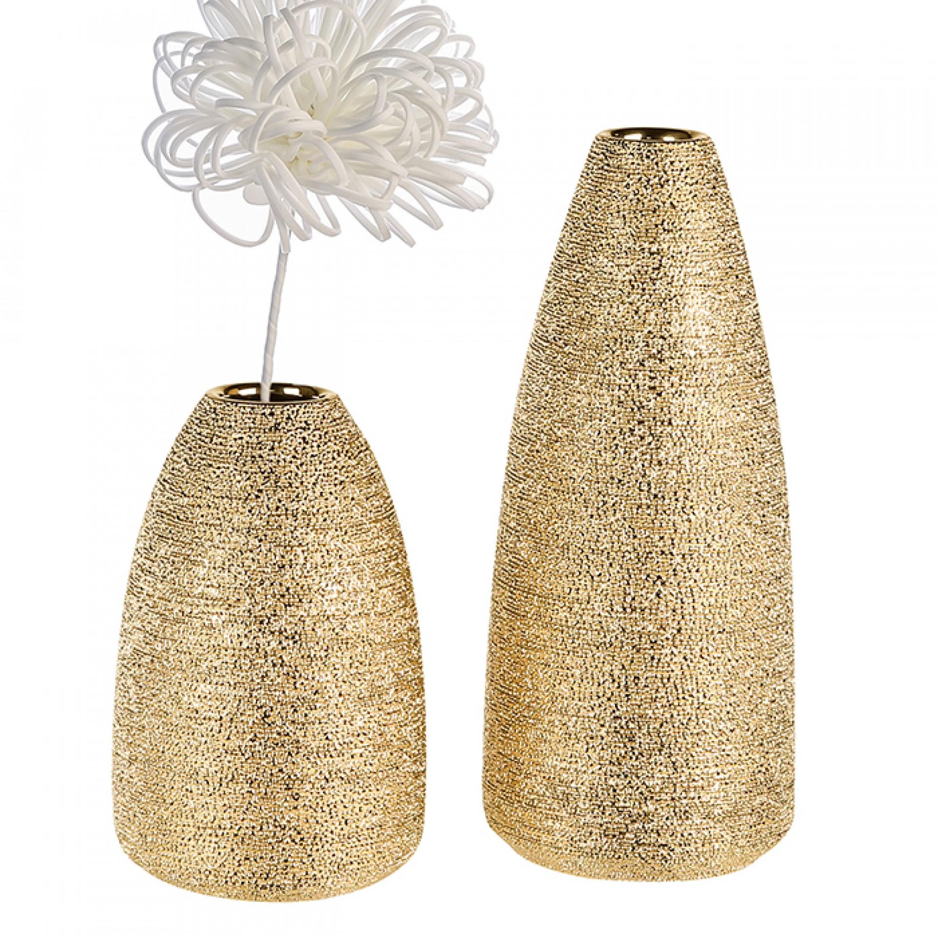 Keramická váza Miro, 30 cm, zlatá