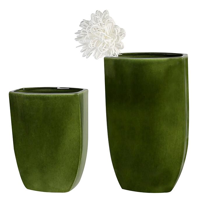 Keramická váza Ontario, 38 cm, tmavě zelená