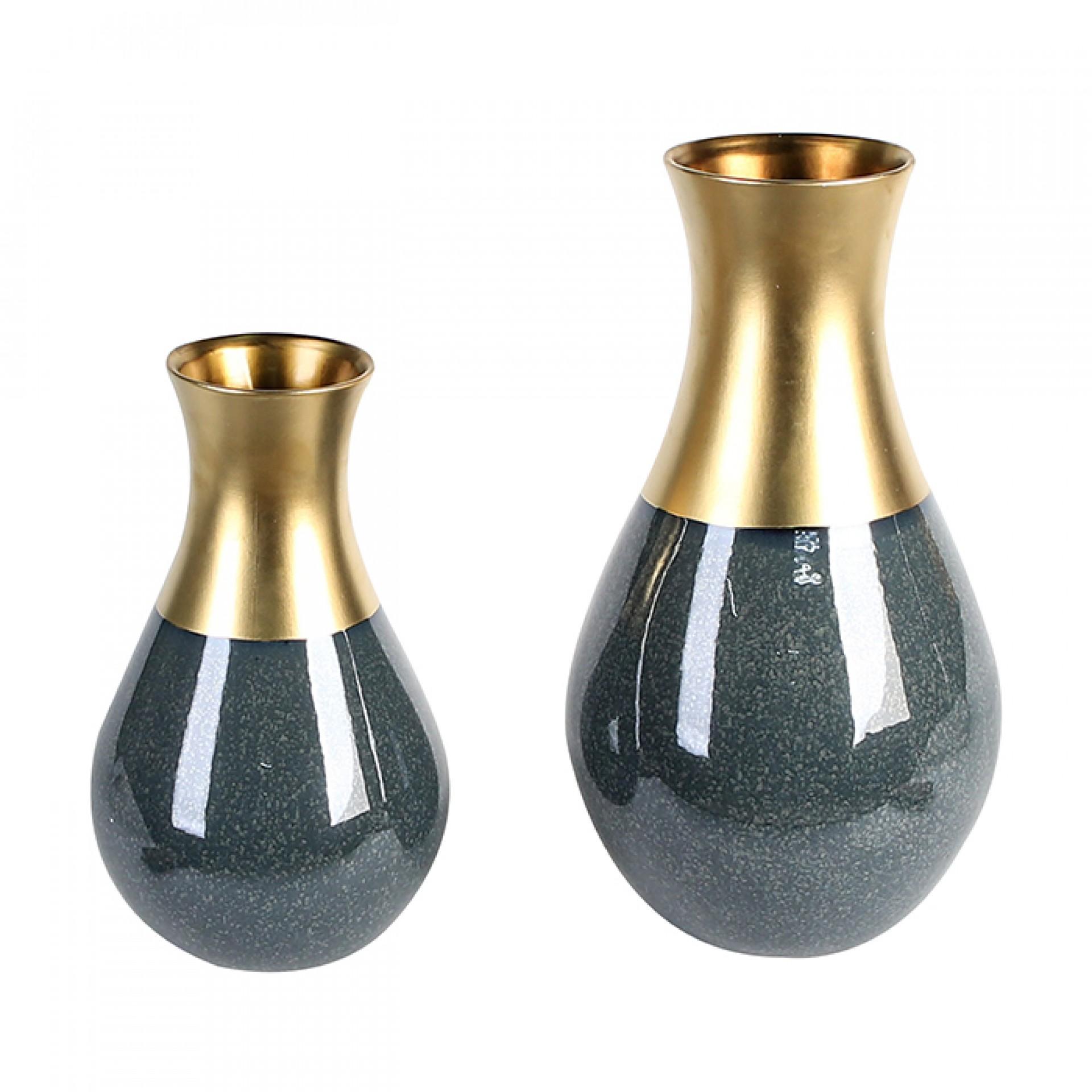 Keramická váza Opulent, 45 cm, modrá/zlatá