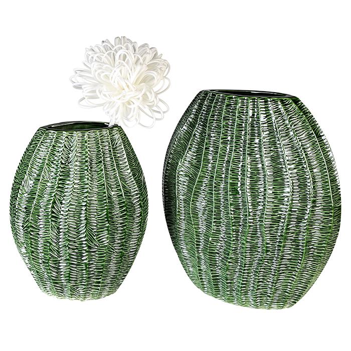 Keramická váza Organico, 31 cm, zelená
