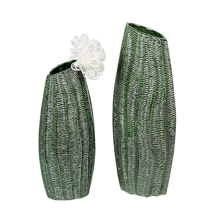 Keramická váza Organico, 49 cm, zelená