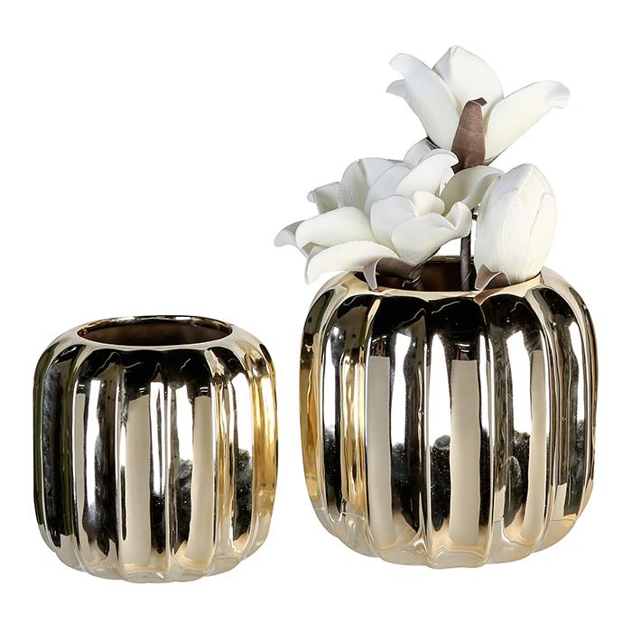 Keramická váza Rims, 14 cm, zlatá