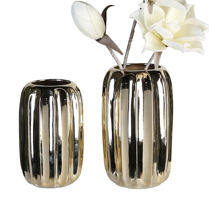 Keramická váza Rims, 19 cm, zlatá