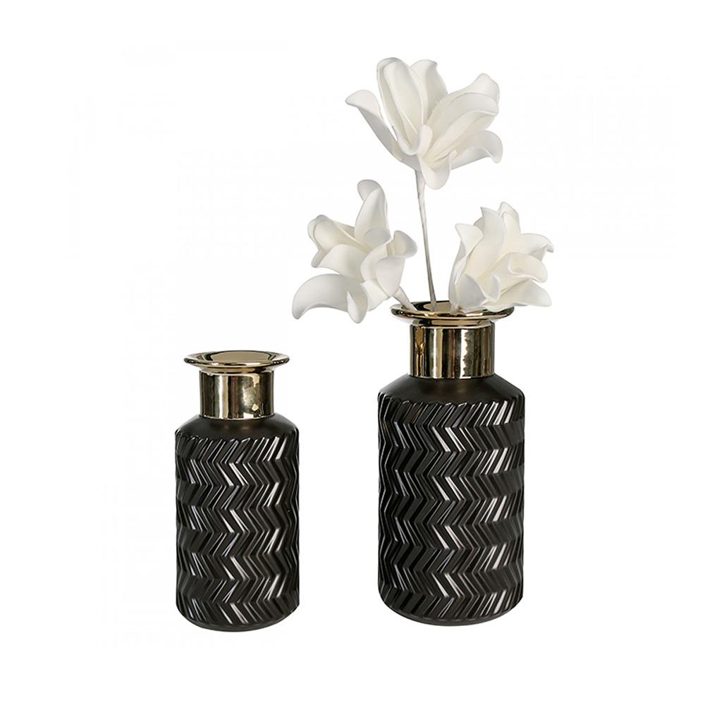 Keramická váza Santos, 25 cm, černá/zlatá