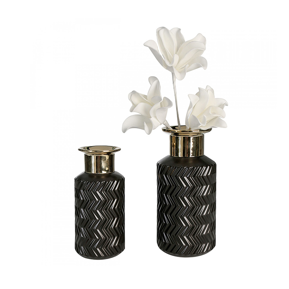 Keramická váza Santos, 30 cm, černá/zlatá