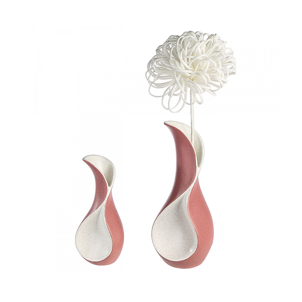 Keramická váza Swing, 23 cm, krémová/růžová