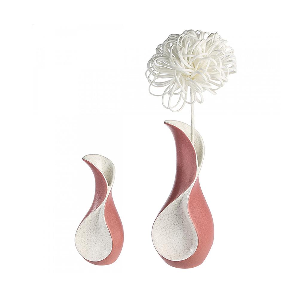 Keramická váza Swing, 30 cm, krémová/růžová