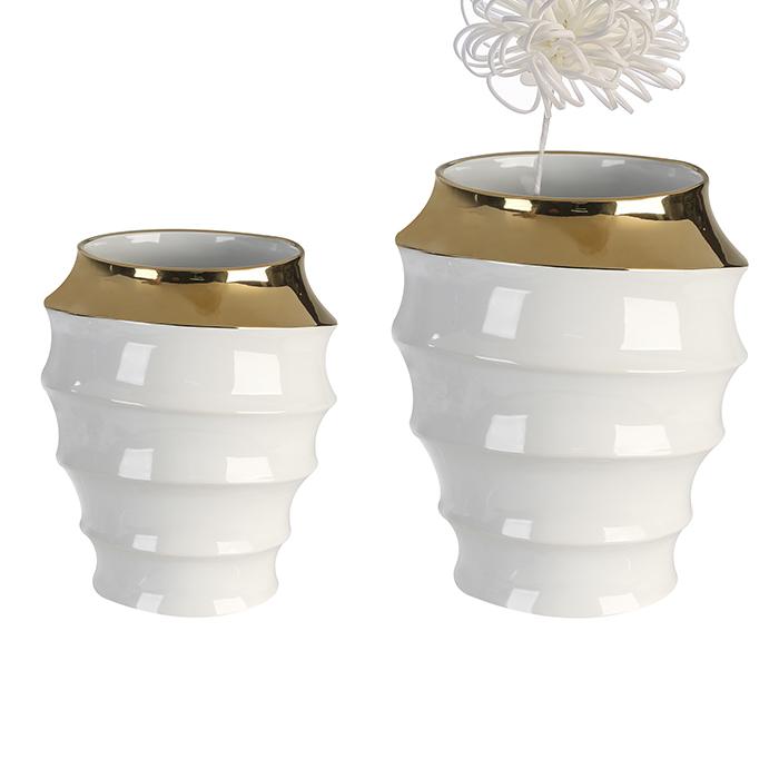 Keramická váza Wave, 27 cm, bílá/zlatá