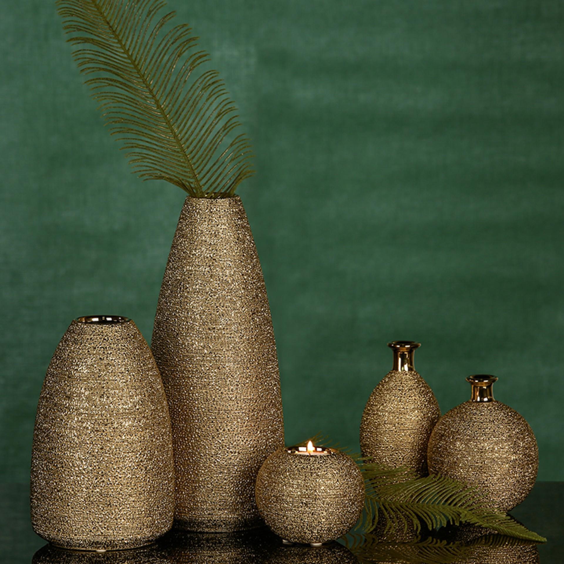 Keramický čajový svícen Miro, 10 cm, zlatá