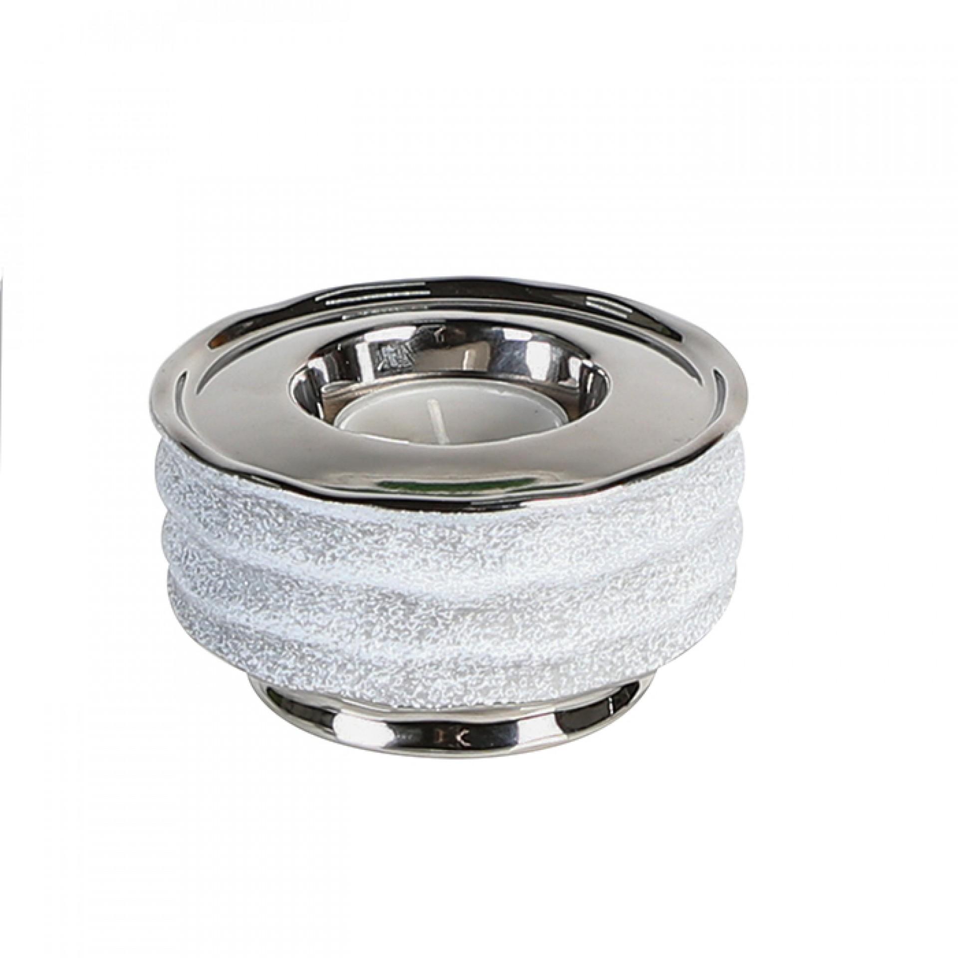 Keramický čajový svícen Wipe, 10 cm, stříbrná/šedá