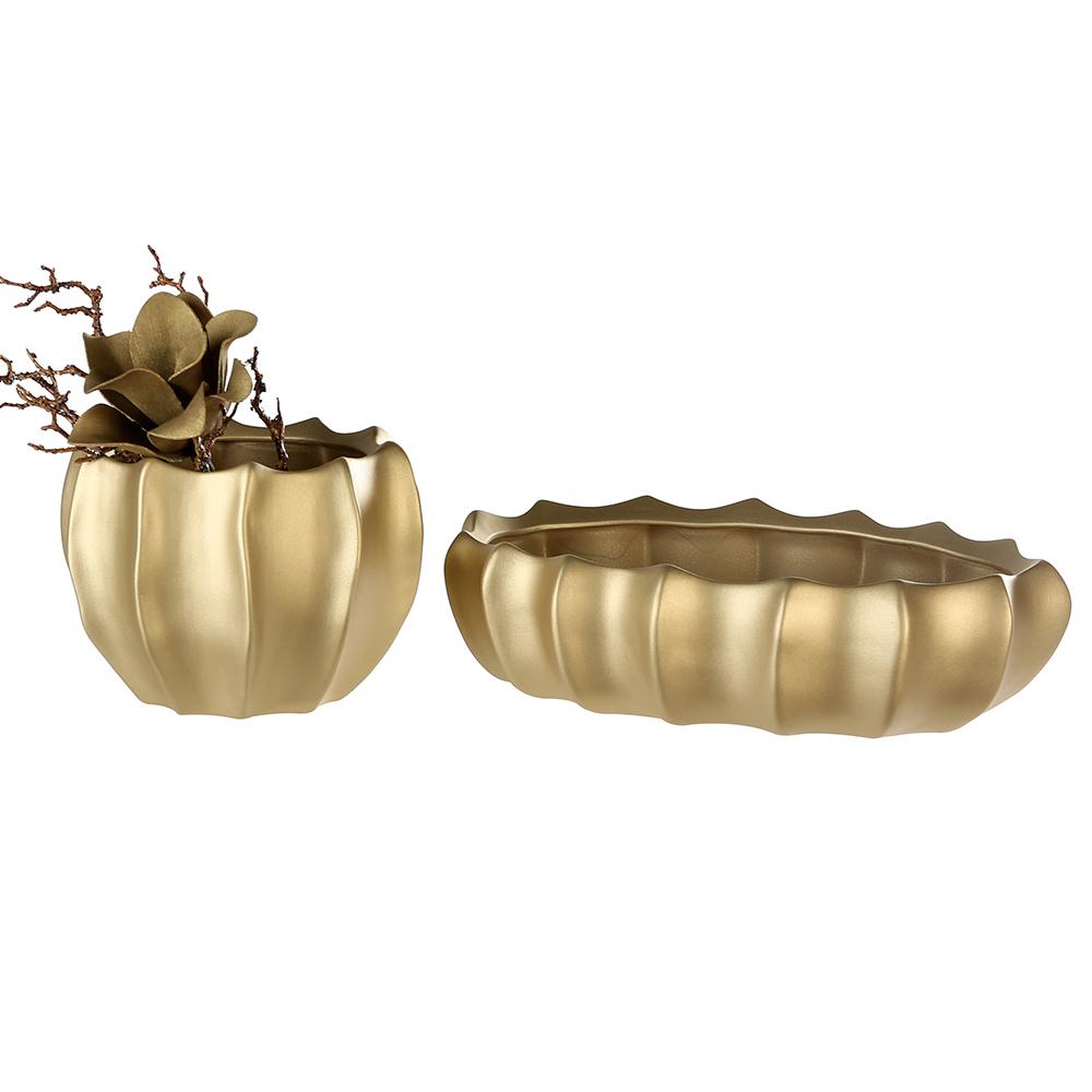 Keramický květináč Kampa, 23 cm, zlatá