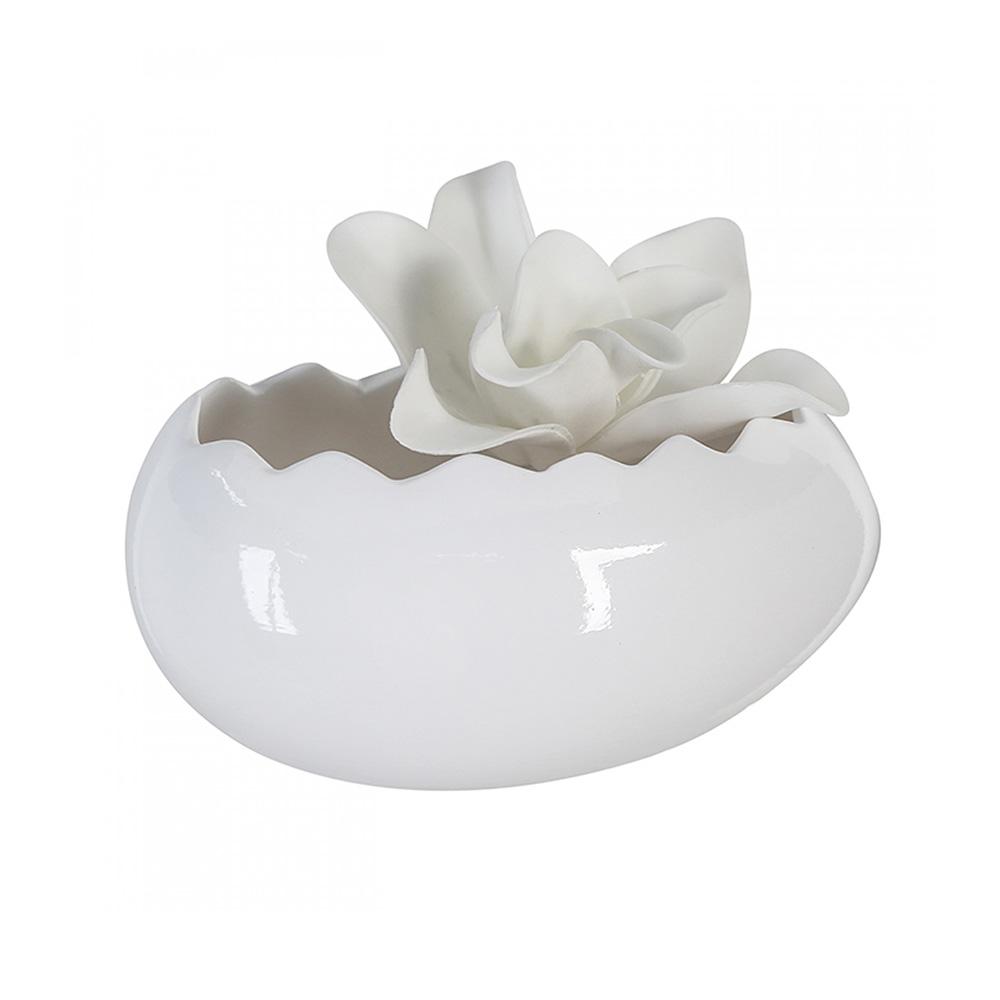 Keramický květináč / mísa Egg, 20 cm, bílá