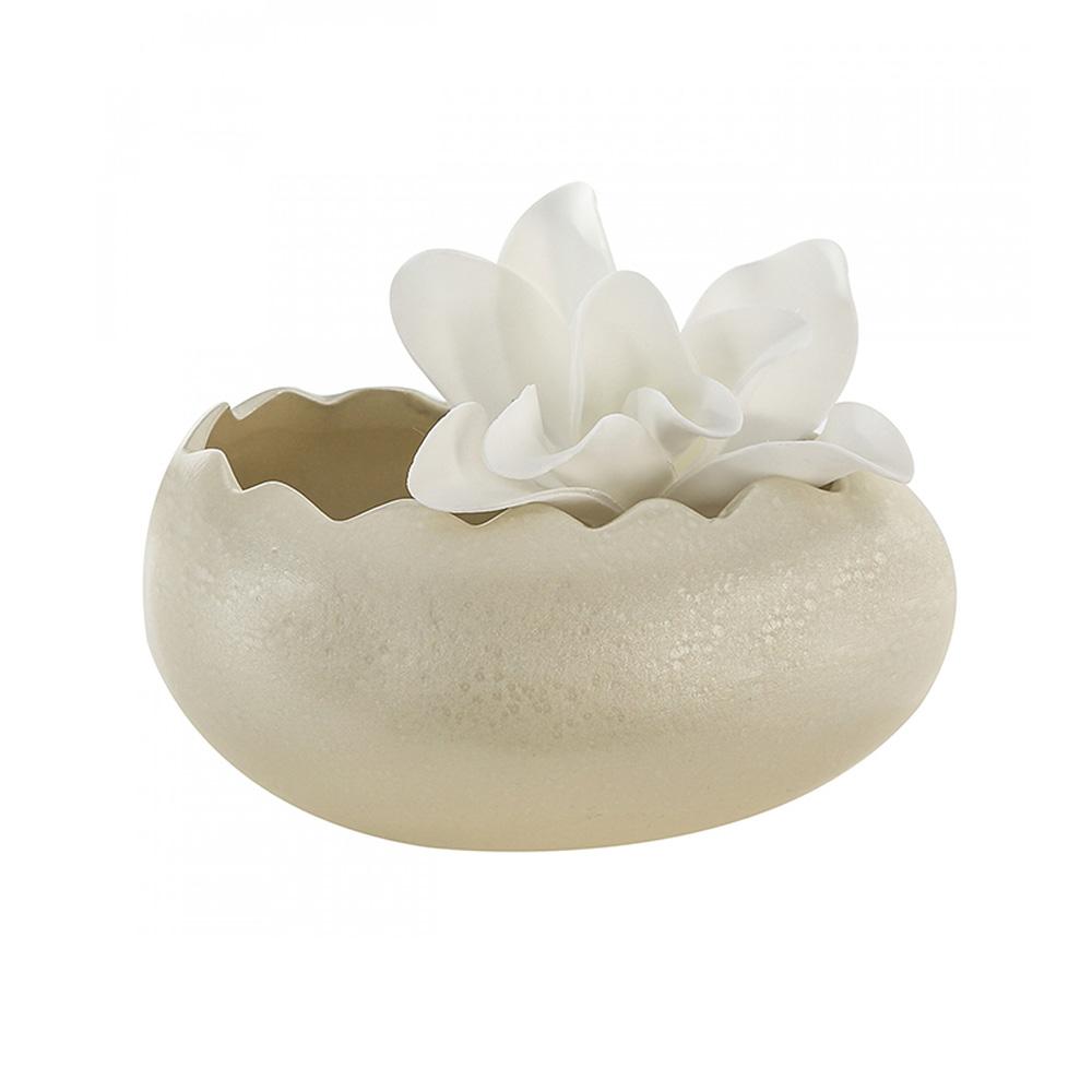 Keramický květináč / mísa Egg, 20 cm, champagne