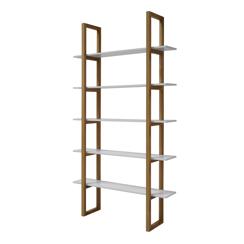 Knihovna / regál s 5 policemi Book, 200 cm, dub/bílá