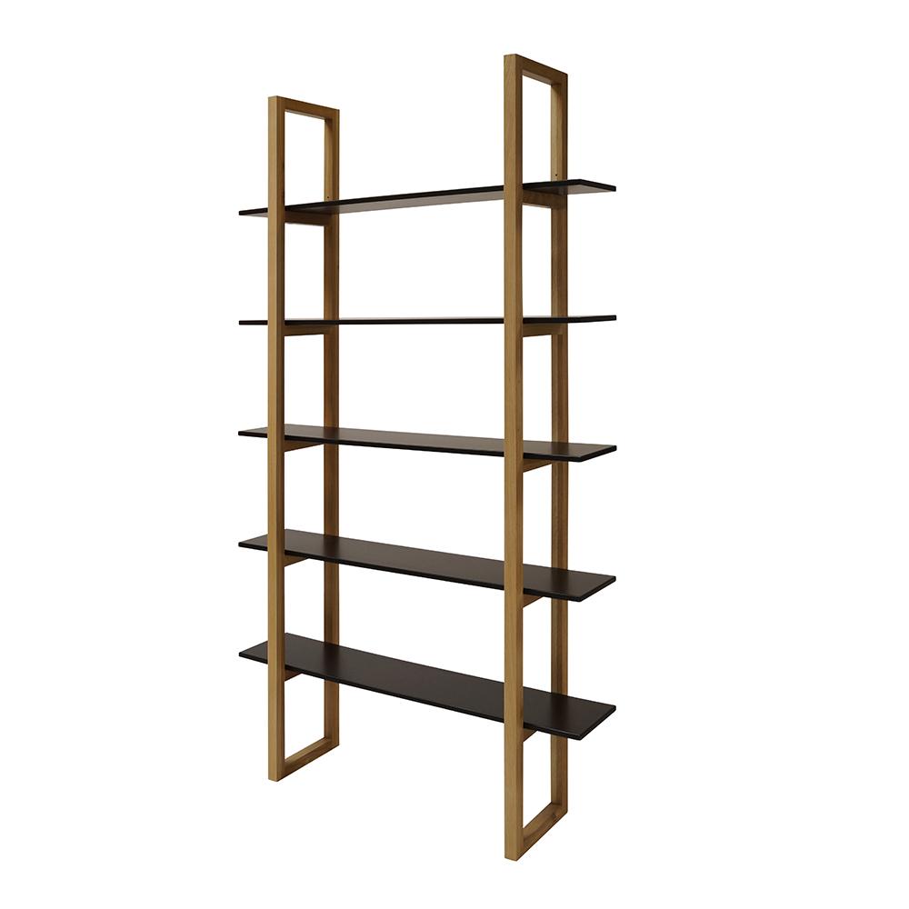 Knihovna / regál s 5 policemi Book, 200 cm, dub/černá