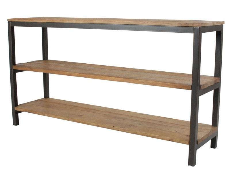 Knihovna / regál s dřevěnými policemi Harvest, 170 cm