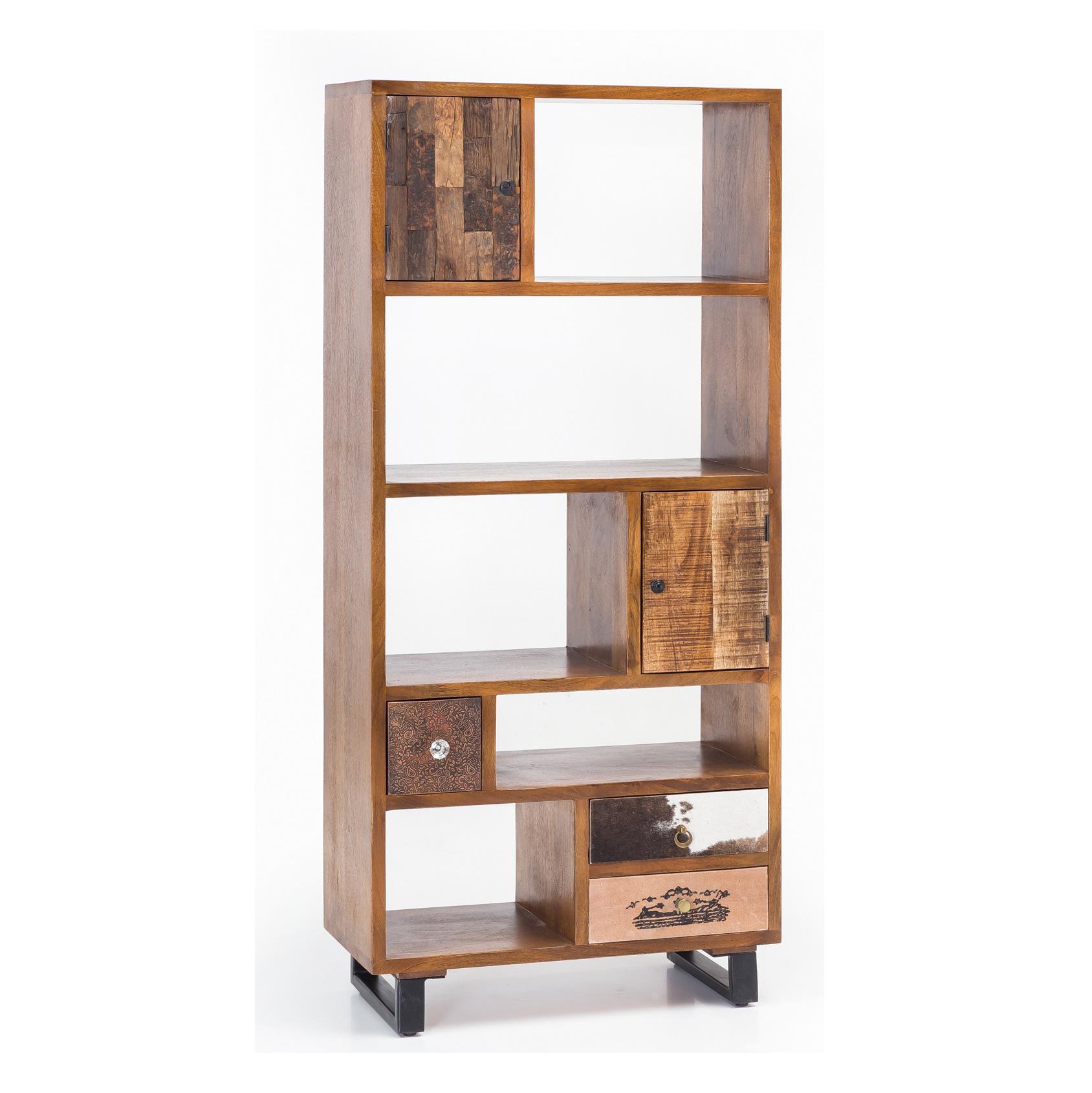 Knihovna s dvířky a zásuvkami Patna, 180 cm, mangové dřevo