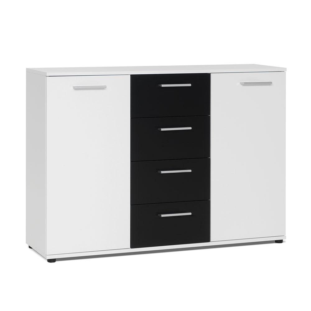 Kombinovaná skříň Emelie, 120 cm, bílá/černá