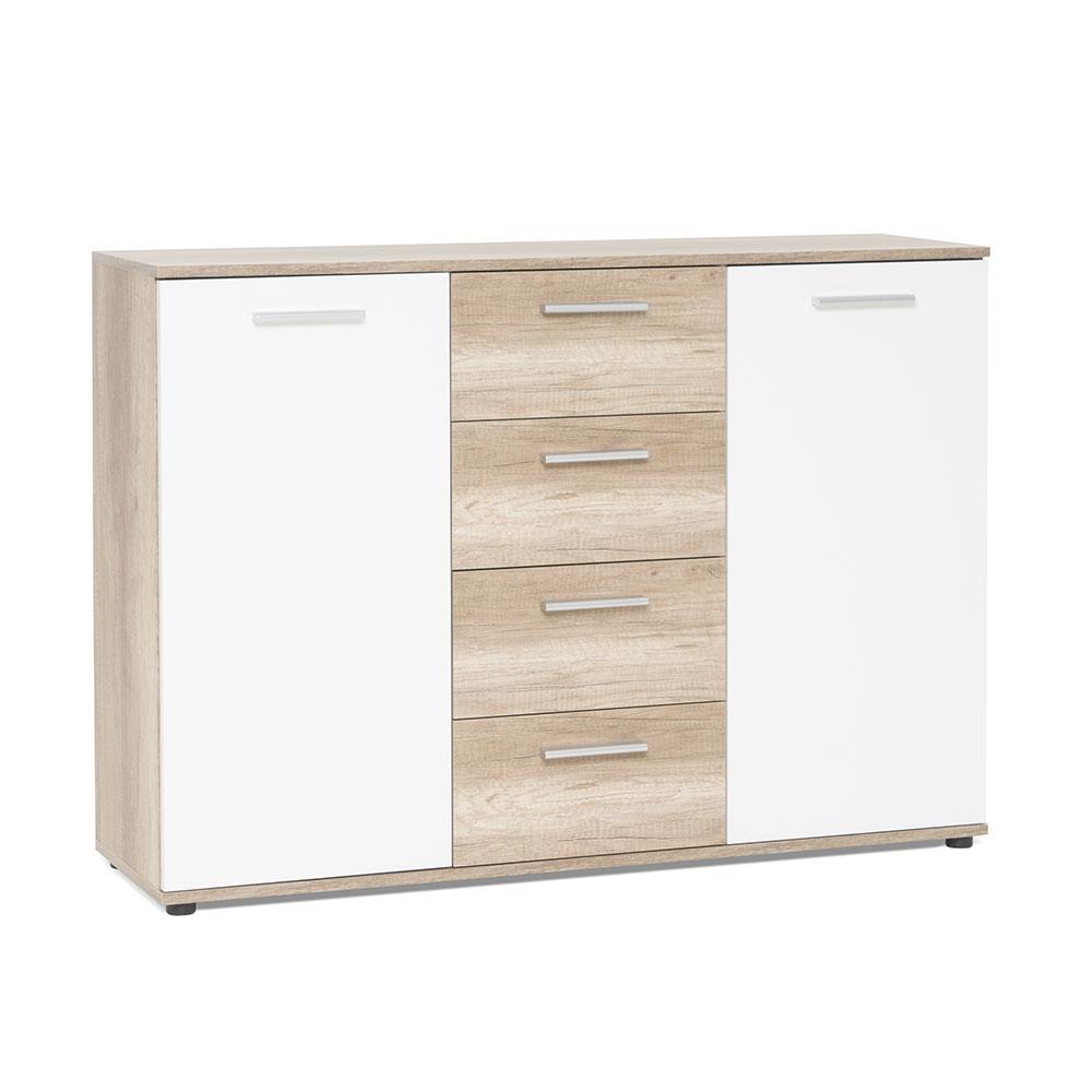 Kombinovaná skříň Emelie, 120 cm, divoký dub/bílá
