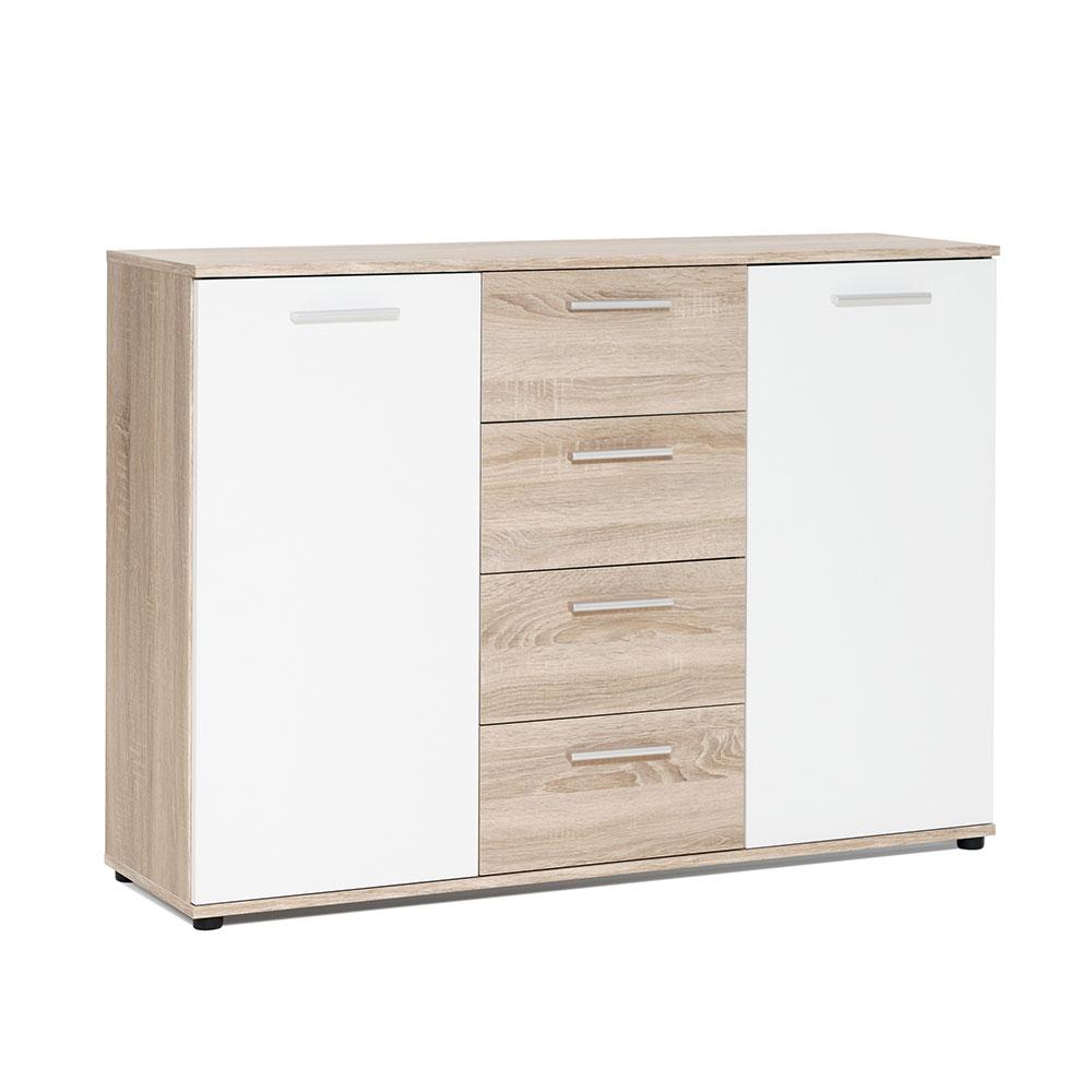 Kombinovaná skříň Emelie, 120 cm, dub/bílá
