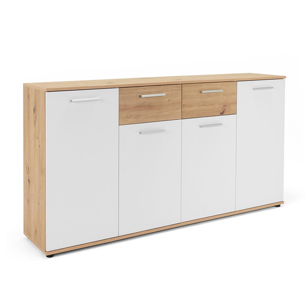 Kombinovaná skříň Emelie, 160 cm, Artisan dub/bílá