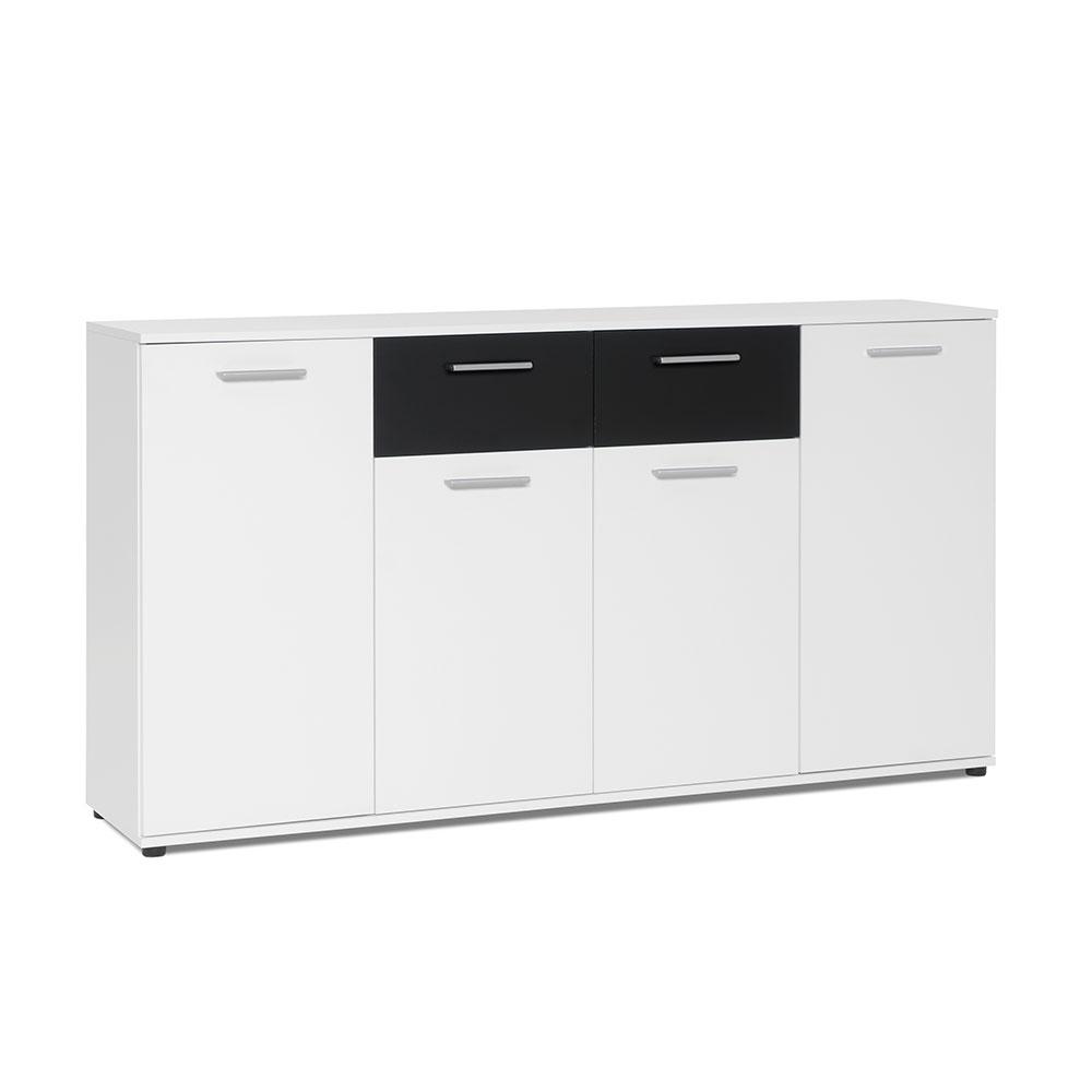 Kombinovaná skříň Emelie, 160 cm, bílá/černá