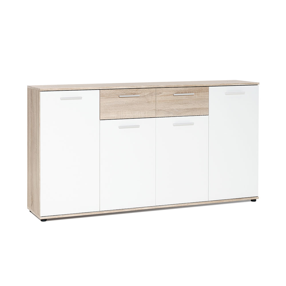 Kombinovaná skříň Emelie, 160 cm, dub/bílá