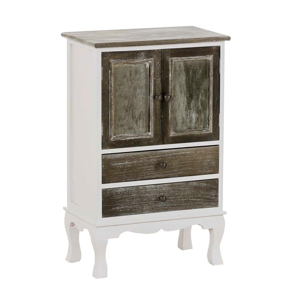Kombinovaná skříň / komoda Martin, 80 cm, bílá/šedá