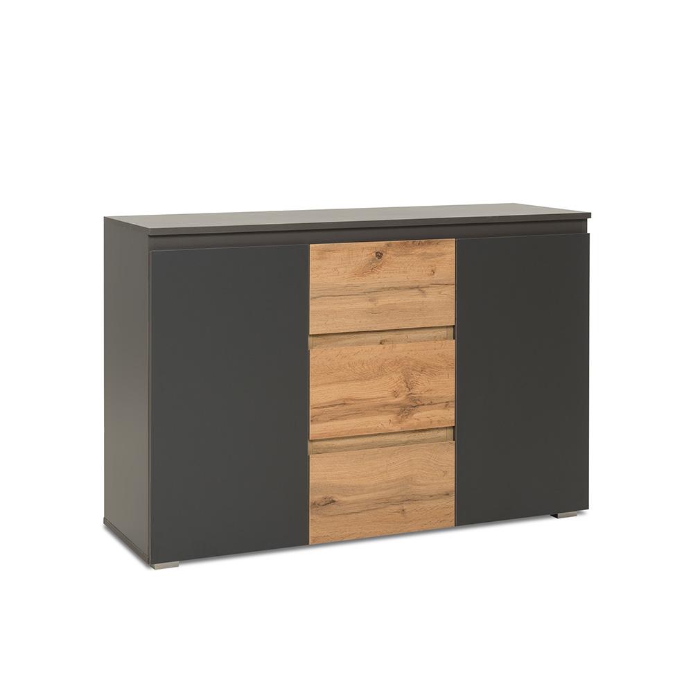 Kombinovaná skříň / komoda Picture, 120 cm, antracit/dub