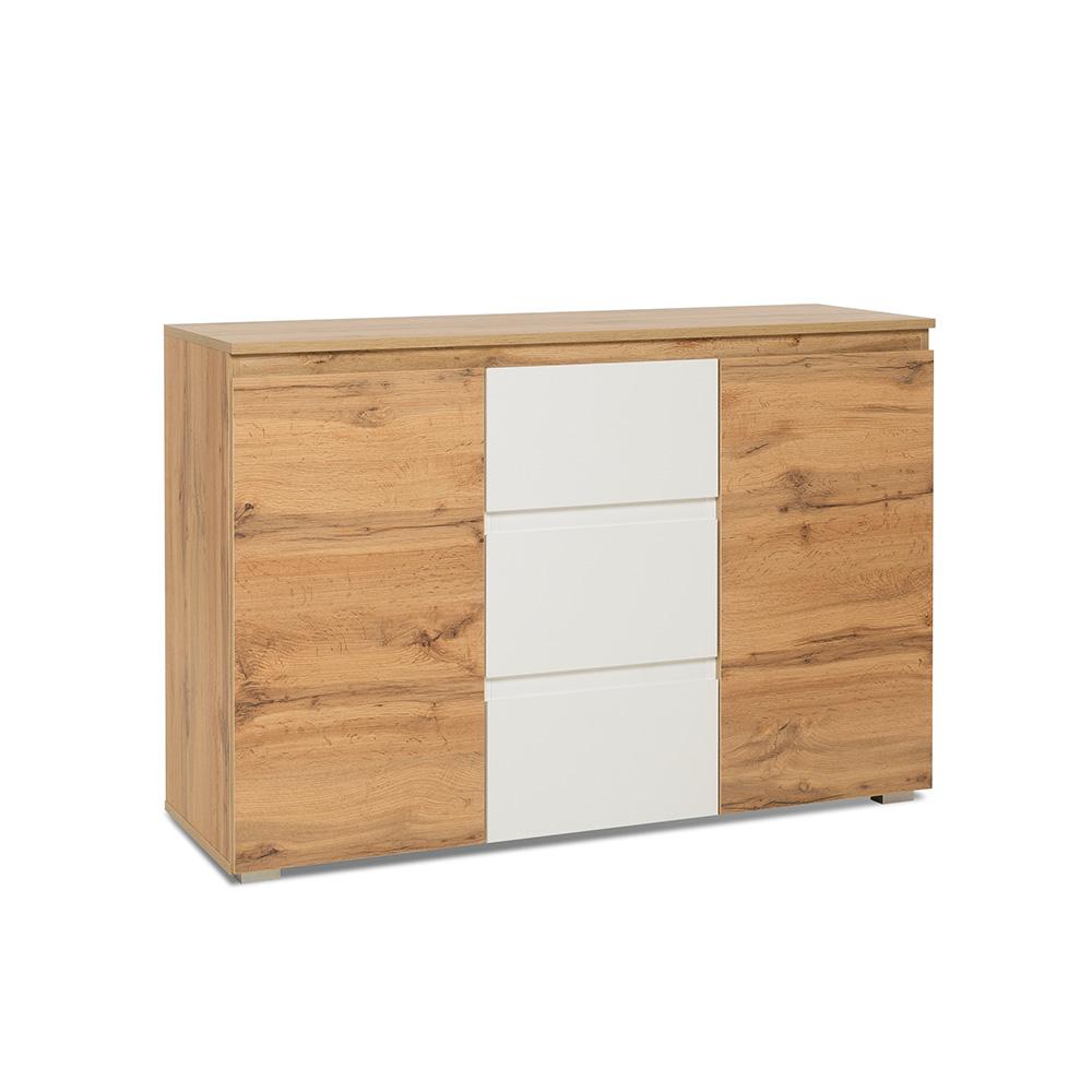 Kombinovaná skříň / komoda Picture, 120 cm, dub/bílá