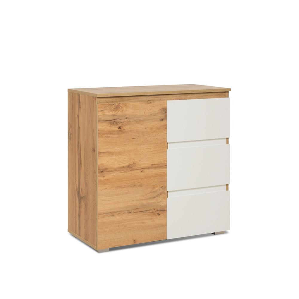 Kombinovaná skříň / komoda Picture, 80 cm, dub/bílá