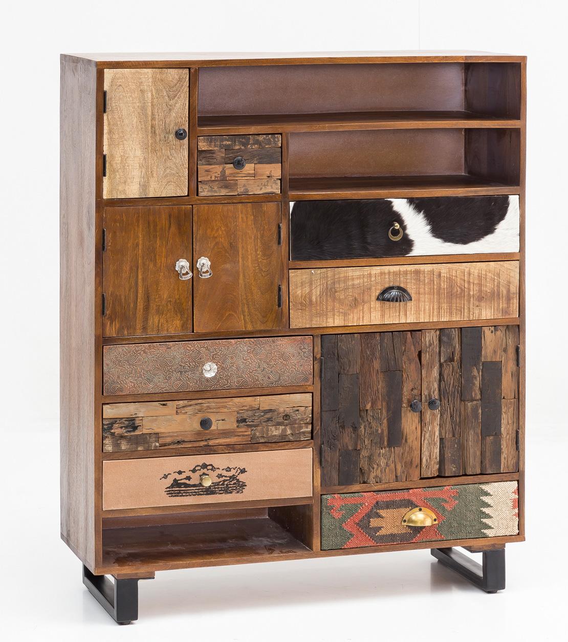 Kombinovaná skříň Patna, 130 cm, mangové dřevo