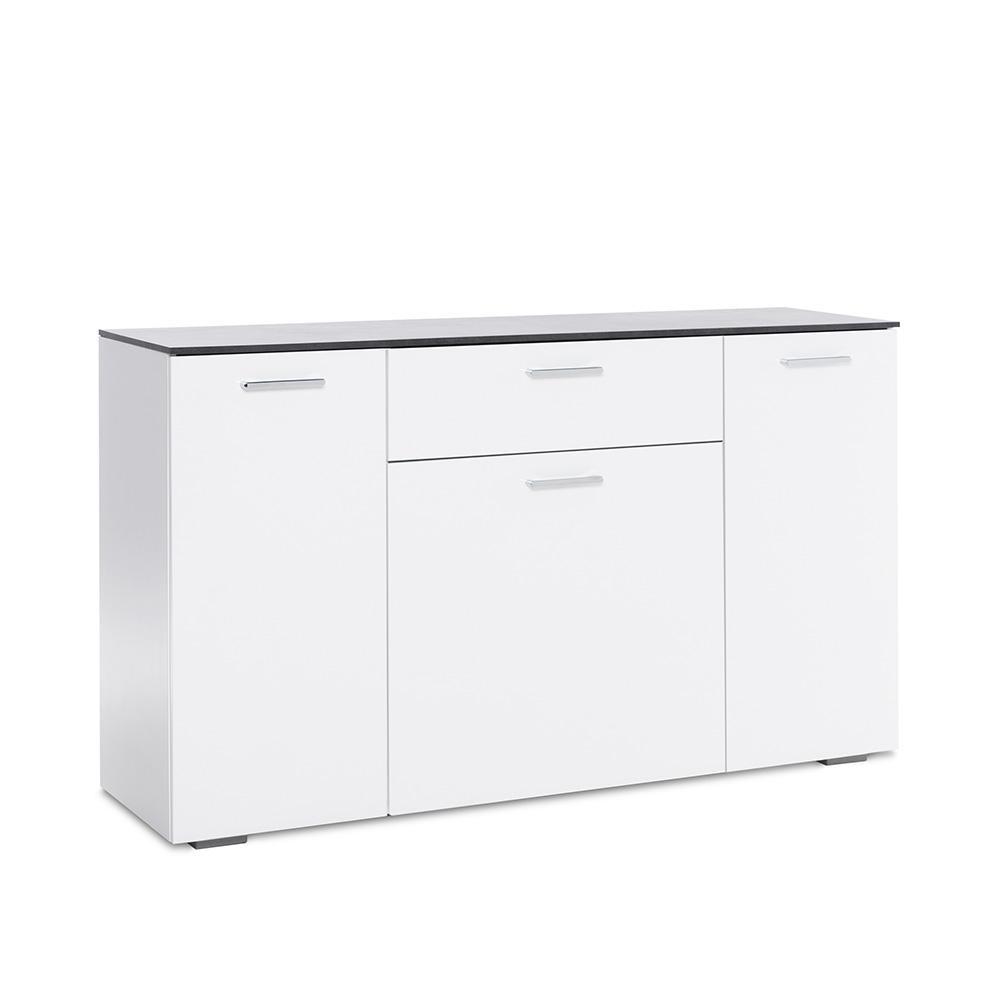 Kombinovaná skříň Perform, 140 cm, bílá/beton