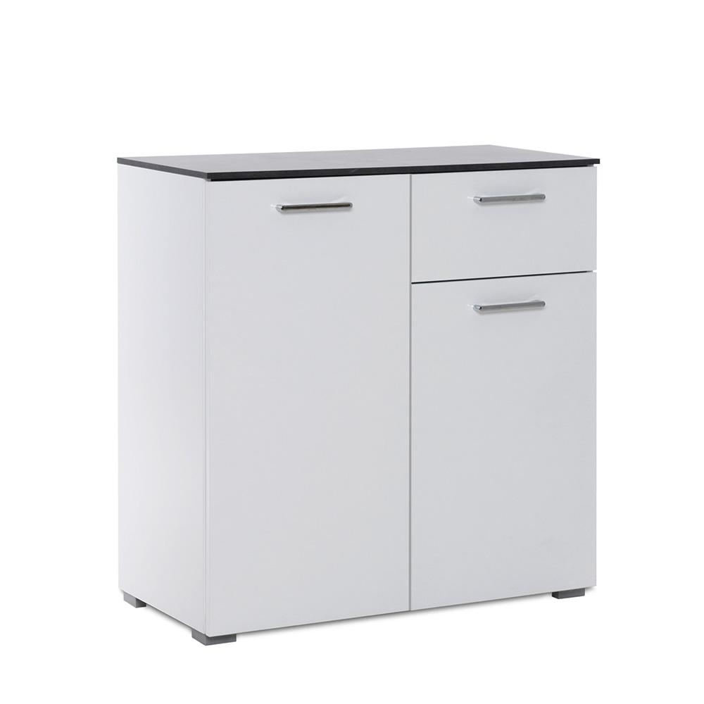 Kombinovaná skříň Perform, 80 cm, bílá/beton