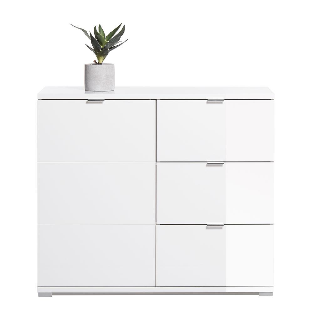 Kombinovaná skriňa / komoda Glory, 100 cm, biela