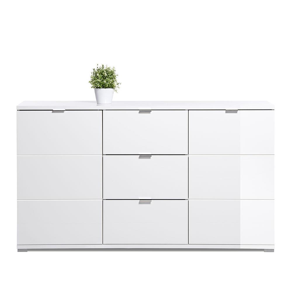 Kombinovaná skriňa / komoda Glory, 150 cm, biela