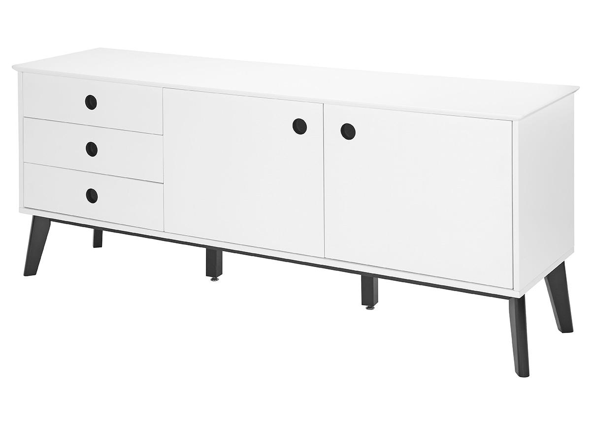 Kombinovaná skriňa / komoda Milenium, 180 cm, biela/čierna, biela / čierna
