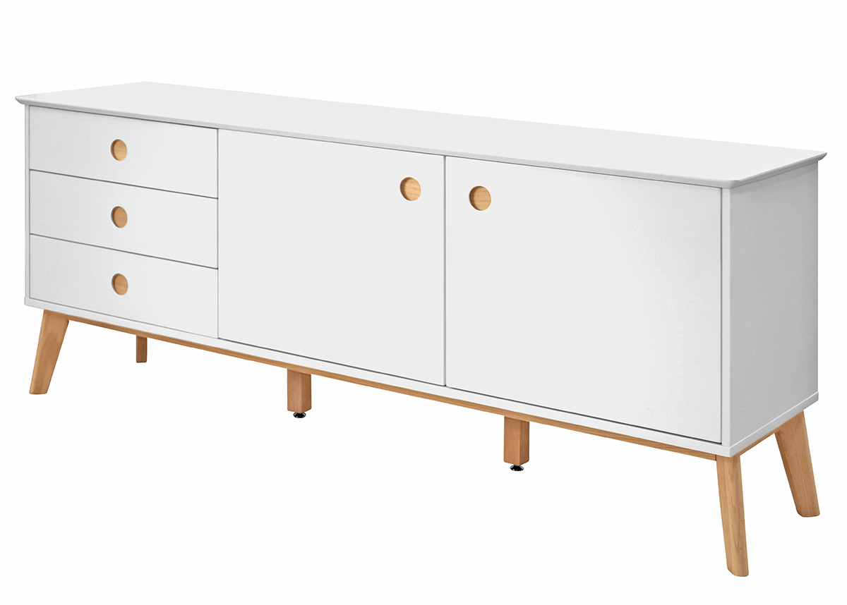 Kombinovaná skriňa / komoda Milenium, 180 cm, biela/dub, biela / dub