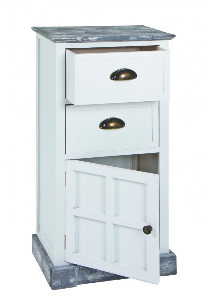 Komoda Eddy se 2 zásuvkami, 77 cm, bílá